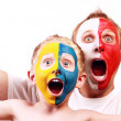 Portrait two screaming fans Poland Ukraine — Stock Photo #14565385