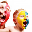 Two screaming fans - Poland Ukraine — Stock Photo #14565387