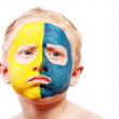 Portrait of disappointed little ukrainian fan — Stock Photo
