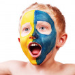 Little screaming football fan — Stock Photo