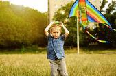 Little boy with kite — Stock Photo
