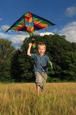 Executando o menino com pipa — Fotografia Stock