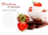Still life with strawberry and chocolate — Stock Photo
