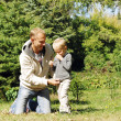 Father and son at the park — Stock Photo