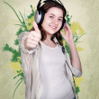 Portrait of teenage girl in headphones — Stock Photo