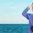 Little sailor with binoculars 1 — Stock Photo