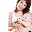 Mother with playing baby on hand — Stock Photo