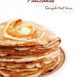Stock Photo: Stack of golden pancakes on a plate