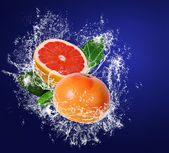 Grapefruits wuith verlaat in water splahes — Stockfoto