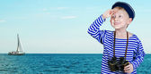 Little sailor with binoculars 1 — Stock Photo