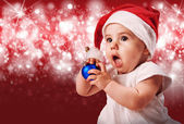 Pretty baby in christmas hat — Foto Stock