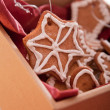 Gingerbread decoration in box — Stock Photo