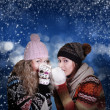 Two frozen beauty girls — Stock Photo