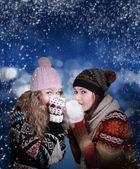 Two frozen beauty girls — Stock Photo
