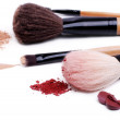 Stock Photo: Set of makeup brushes