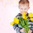 Cute little boy with yellow tulips - Stock Photo