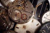 Background from old mechanical clocks — Stock Photo