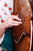 Closeup view on girl hand playing by bandura — Stock Photo