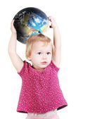 Pretty little girl with globe Earth — Stock Photo