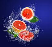 Segments of grapefruits with leaves in water splashes — Stock Photo
