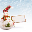 Happy snowman with greeting postcard — Stock Photo
