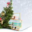 Christmas Tree with exotic vacation postcard — Stock Photo