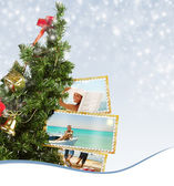 Christmas Tree with exotic vacation postcard — Photo
