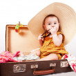 Funny baby girl sitting in old suitcase — Stock Photo