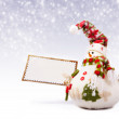 Stock Photo: Happy snowman with greeting postcard