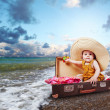 Stock Photo: Travel concept image with baby in suitcase