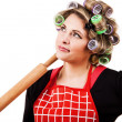 Housewife portrait with rolling-pin - Stock Photo