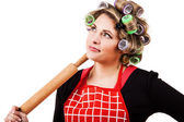 Housewife portrait with rolling-pin — Stock Photo