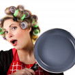 Pinup housewife portrait with pan — Stock Photo