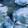 Winter river stream under crust of ice — Stock Photo