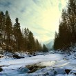 Winter waterfall on Carpathians river - Stock Photo