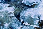 Winter river stream under crust of ice — Stock Photo