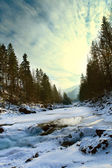 Winter waterfall on Carpathians river — Stock Photo