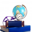 Still life with Globe, glasses and alarm clock — Stock Photo