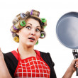 Pinup style housewife with pan — Stock Photo