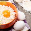 Still life with cheese cottage, eggs and pastry — Stock Photo #21063511