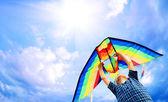 Criança feliz voa uma pipa no céu — Foto Stock