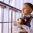 Boy with favourite toy — Stock Photo