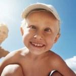 Crazy smiling happy child portrait — Stock Photo