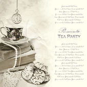 Tea party vintage background — Stock Photo
