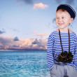 Little ship boy with binocular - Stock Photo