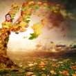 Stock Photo: Lady Autumn with wings