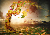 Lady Autumn with wings — Stock Photo