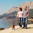 happy couple walking with puppy on the seacoast — Stock Photo