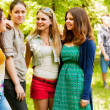 Four girlfriends outdoor portrait — Stock Photo