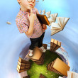 Stock Photo: On planet of book